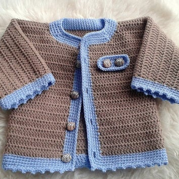 Crochet Baby Boy Cardigan In Brown And Blue Decorated With Owl Ons Jacket