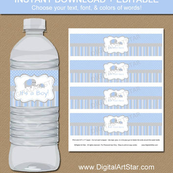 Elephant Party Water Bottle Labels Blue Grey Editable Templa