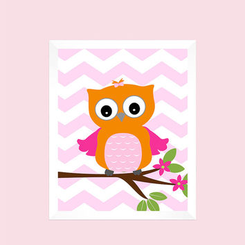 Orange Pink Owl On Branch Nursery Decor Baby Print Bathroom Art Customize Your Colors 8x10 Prints