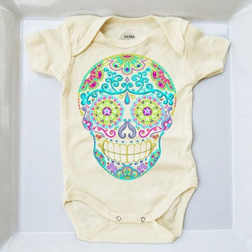 Ivory Tattoo Baby Clothes 3 9 18 Months Sugar Skull Bodysuit Turquoise