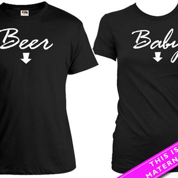 Matching Shirts For Couples Pregnancy Announcement T Shirt Baby Reveal Couple Gifts His And