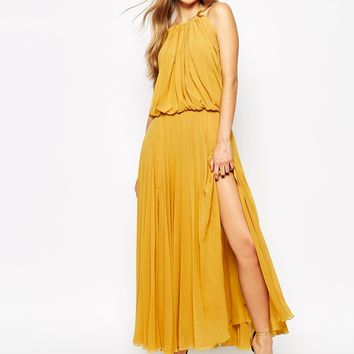 Mango Pleated 70S Glamour Maxi Dress