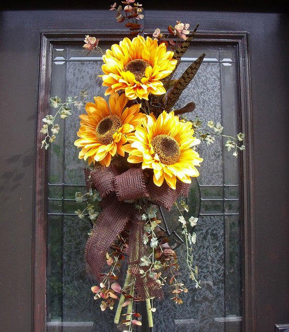 Fall Wreath Yellow Sunflower Swag Summer From Luxewreaths