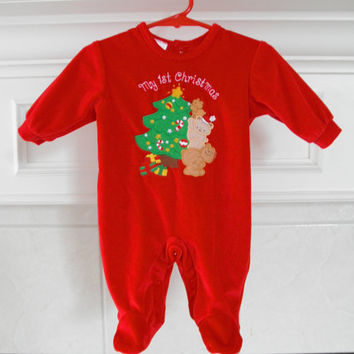 Vintage Baby First Christmas Bodysuits Gently Used Clothes Newborn Size 3 Month Red Infant Romper