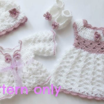 Baby Sweater Dress Hat And Shoes Pattern 5 Sizes Newborn To 12