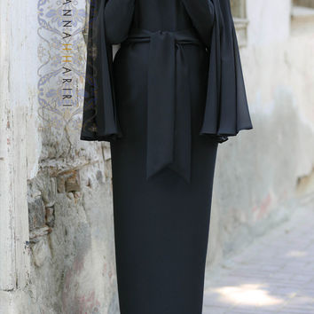 933d5026e1cc7 ANNAH HARIRI $159.00. Cape Dress in Black