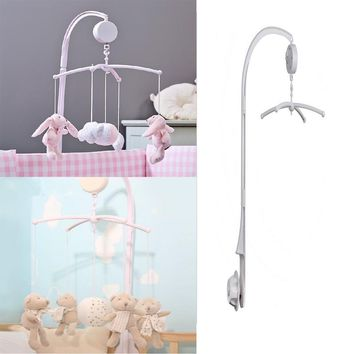 Baby toys White Rattles Bracket Set Baby Crib Mobile Bed Bell Toy Holder Arm Bracket Wind-up Music Box Free Shipping SA874342