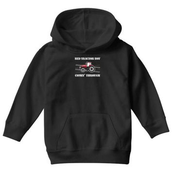 case ih red tractor boy comin' through Youth Hoodie