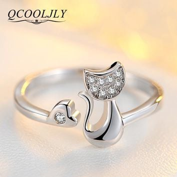 QCOOLJLY Rose Gold Color Cat Shape Wedding Engagement Adjustable Ring for Women CZ Jewelry Gift for Girl Party