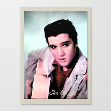 young Elvis Presley digital photo art.  the king of music, rock 'n' roll.  Stretched Canvas by PatternWorld