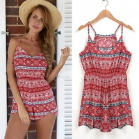 New Women Fashion Sleeveless V-Neck Print Sexy Casual Spaghetti Straps Mini Jumpsuit