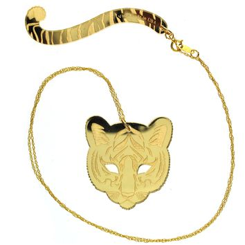 Tiger & Tail Necklace in Mirror Gold