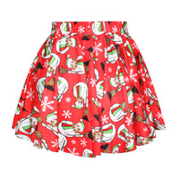 Wine Red Christmas Snowman And Snowflake Bubble Skirt
