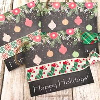 Holiday Gift Tags | Hair Tie Gift Tag | Stocking Stuffer - gift tags, holiday tag, hair tie favor, chalkboard paper