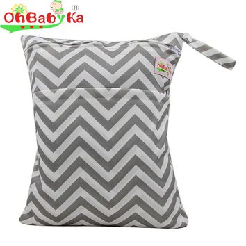OhBabyKa Baby Diaper Bags Reusable Wet Dry Double Zipper Washable Changing Bag