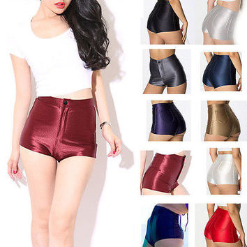 (New Disco High Waisted Shiny Stretch Shorts)