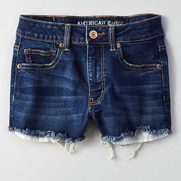 AEO Denim X Hi-Rise Shortie, Medium Bright Indigo