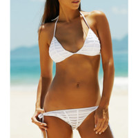 Fashion women halter stripe four knot white beige two piece bikini