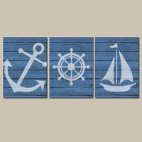 Nautical Wall Art CANVAS or Prints Wood Effect Background Boy Nursery Bathroom Decor Blue Ocean Anchor Boat Wheel Pick Colors Set of 3