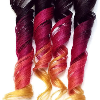 4x Rainbow Clip in Human Hair Extensions Magenta Red Pink Orange Yellow Kawaii