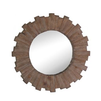 Wooden Swell Sunburst Wall Mirror