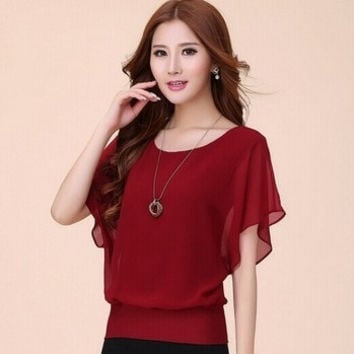 New 2014 Fashion Women's Summer Short-sleeve Top Ladies Chiffon Blouses Shirts Female Elegant Batwing Plus size Casual RE097 = 1946533892