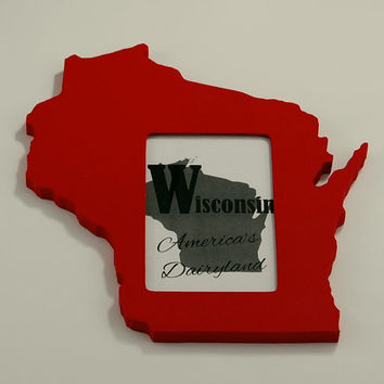Wisconsin state shaped picture frame 4x6 by @PineconeHome