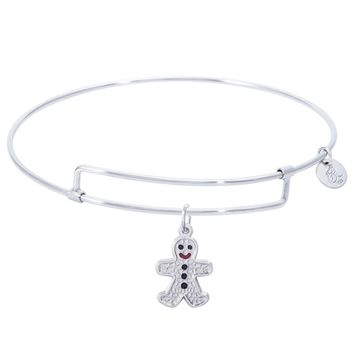 Sterling Silver Pure Bangle Bracelet With Gingerbread Man Charm