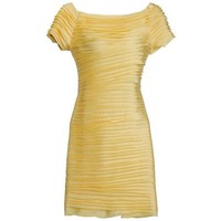 Elegant Pleated Yellow Dress TFHS04Y - Designer Shoes|Bqueenshoes.com