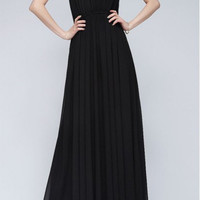 Black Sleeveless Pleated Maxi Dress