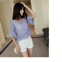 Round Neck Short Sleeve Lace Blouse