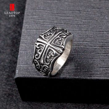 Celtic Rings For Man In Stainless Steel Male Celtic Silver Scrolled Cross Ring Vintage Big Medieval Style Mens Rings