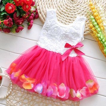 Toddler Baby Kid Girls Princess Party Tutu Lace Bow Flower Dresses Skirt Clothes