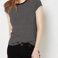 Black Striped Crewneck Tee | Short Sleeve | rue21
