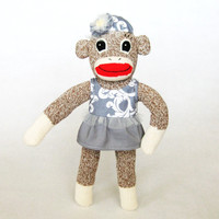 Sock monkey flapper girl Great Gatsby style Roaring Twenties outfit dress and beret completely hand-sewn using my own design OOAK gift idea