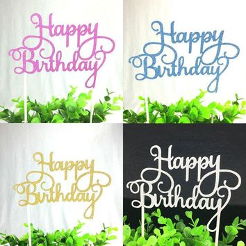 1pc Multi-color Cupcake Cake Topper Happy Birthday Cake Flags Double Stick For Family Birthday Party Baking Decoration Supplies