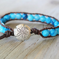 Beaded Wrap Bracelet - Beachy Boho Jewelry - Nautical Jewelry - Bohemian Bracelet - Sand Dollar Jewelry