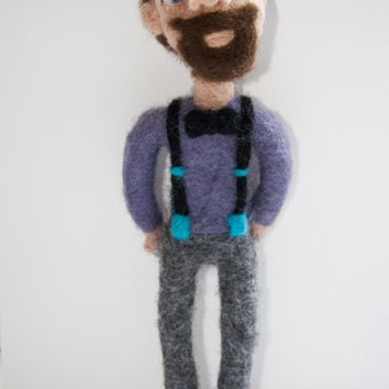"Needle felted portrait doll ""Mr. Hipster"". Wool sculpture. Handmade. 100% wool."