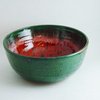 Watermelon theme 6 inch Cereal Bowl Kitchen Serving soup dish or Ring Holder, Wheel Thrown stoneware pottery ceramic
