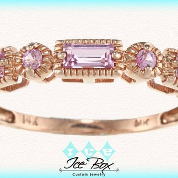 Pink Sapphire and 14k Rose Gold Milgrain Wedding Anniversary Eternity Band