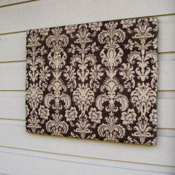 Damask Burlap Bulletin Board for your Rustic Wedding, office, kitchen or bedroom -  Natural burlap, Dark Brown with Tan damask pattern