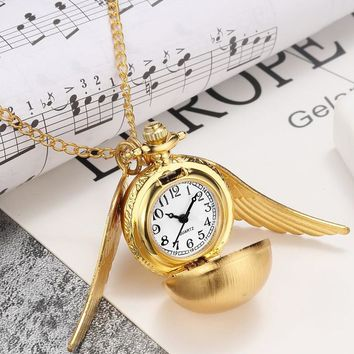 Bronze Steampunk Harry Potter Golden Snitch Ball Quartz Pocket Watches Clock With Fob Necklace Chain Children Kids Xmas Gift Box