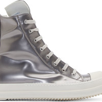 Silver Leather High-Top Sneakers