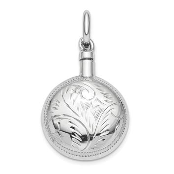 Sterling Silver RH-plated Polished Screw Top Ash Holder Pendant