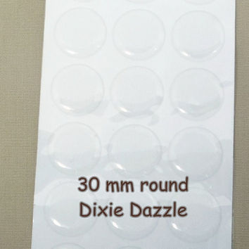 Bulk quantity 100 30mm Large clear epoxy seals for badges, mirrors, compacts, belt supplies. Circle Epoxy Resin Stickers