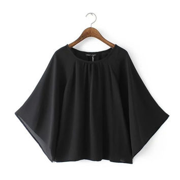 Women's Fashion Batwing Sleeve Chiffon Tops Pullover A4 Size Blouse [6047797441]
