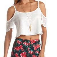Crochet Cold Shoulder Crop Top by Charlotte Russe - Ivory