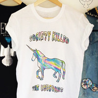 Society killed the UNICORNS grunge 90s holographic unisex tshirt
