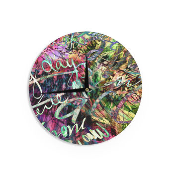 "Gabriela Fuente ""Crazy Day"" Rainbow Abstract Wall Clock"
