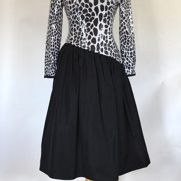 80s Glam Black and White Taffeta Party Dress